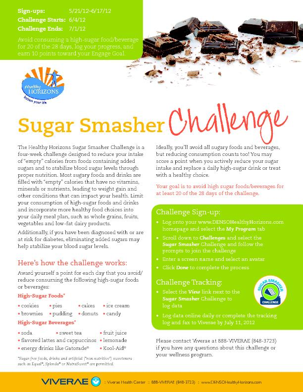 The Healthy Horizons Sugar Smasher Challenge is a