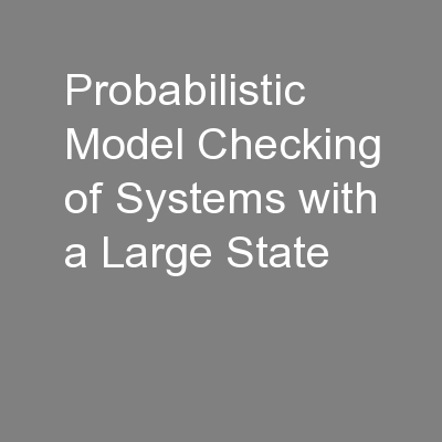 Probabilistic Model Checking of Systems with a Large State