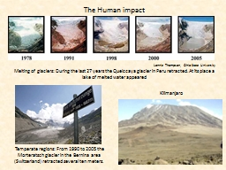 Melting of glaciers: During the last 27 years the Quelccaya PowerPoint PPT Presentation