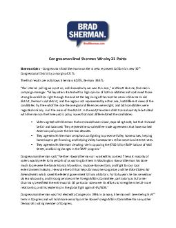 Co ngressman Brad Sherman Wins by  Points Sherman Oaks  th Congressional D istrict by a margin of
