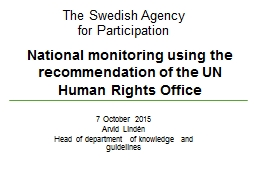 National monitoring using the recommendation of the UN Huma PowerPoint PPT Presentation