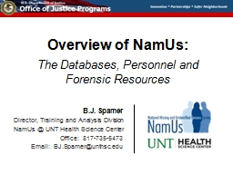 Overview of NamUs: