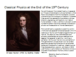 Classical Physics at the End of the 19