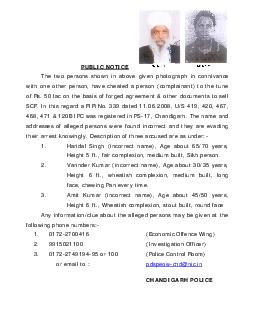 PUBLIC NOTICE The two persons shown in above given photograph in connivance with one other person  have cheated a person complainant to the tune of Rs PowerPoint PPT Presentation