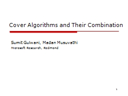 1 Cover Algorithms and