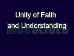Unity of Faith and Understanding