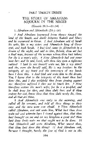 PART THIRTY-THREE THE STORY OF ABRAHAM: SOJOURN IN THE NEGEB (Genesis