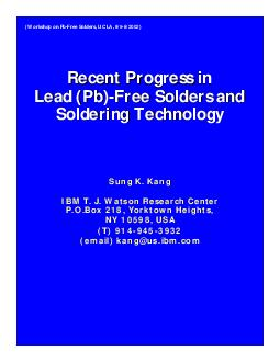 Recent Progress in Lead (Pb)-Free Solders and Soldering TechnologySung
