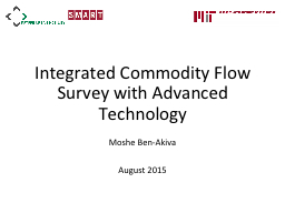 Integrated Commodity Flow Survey with Advanced Technology