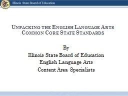 Unpacking the English Language Arts Common Core State Stand