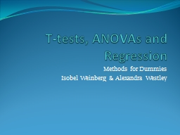 T-tests, ANOVAs and Regression