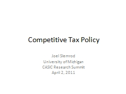 Competitive Tax Policy