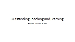 Outstanding Teaching and Learning
