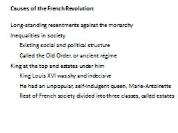 Causes of the French Revolution: