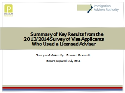 Summary of Key Results from the