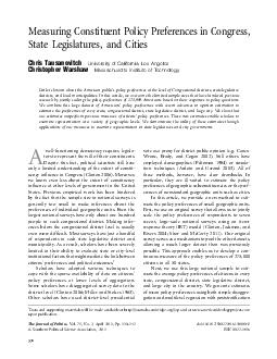 Measuring Constituent Policy Preferences in Congress State Legislatures and Cities Chris Tausanovitch University of California Los Angeles Christopher Warshaw Massachusetts Institute of Technology Li