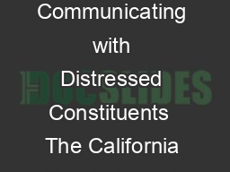 California Psychological Association A Legislators Guide Communicating with Distressed Constituents  The California Psychological Association Table Of Contents Introduction