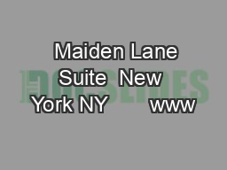 Maiden Lane Suite  New York NY       www PDF document - DocSlides