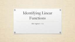 Identifying Linear Functions PowerPoint PPT Presentation