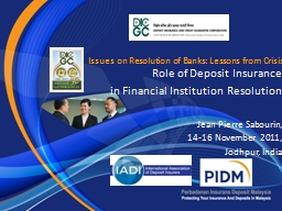Issues on Resolution of Banks: Lessons from Crisis