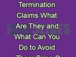 Constructive Termination Claims What Are They and What Can You Do to Avoid Them Brian C
