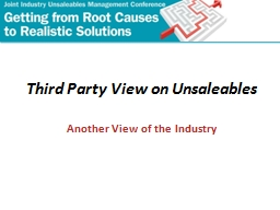 Third Party View on Unsaleables