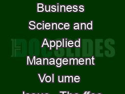Int Journal of Business Science and Applied Management Vol ume  Issue   The ffec
