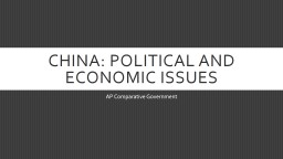China: Political and Economic