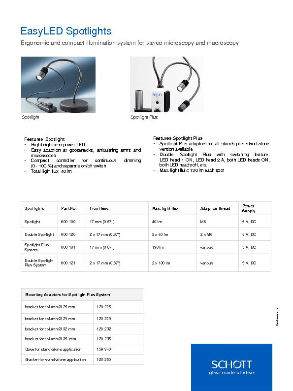 Version 09.2014 EasyLEDSpotlightsErgonomic and compact illumination sy