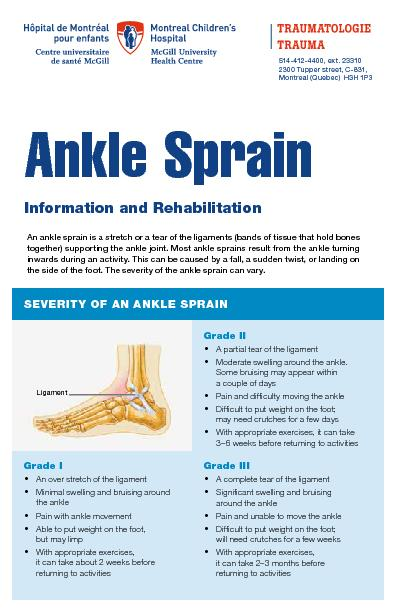 An ankle sprain is a stretch or a tear of the ligaments (bands of tiss
