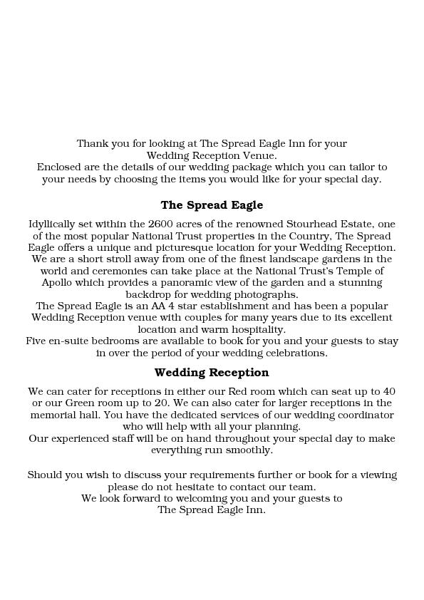 Thank you for looking at The Spread Eagle Inn for your  Wedding Recept
