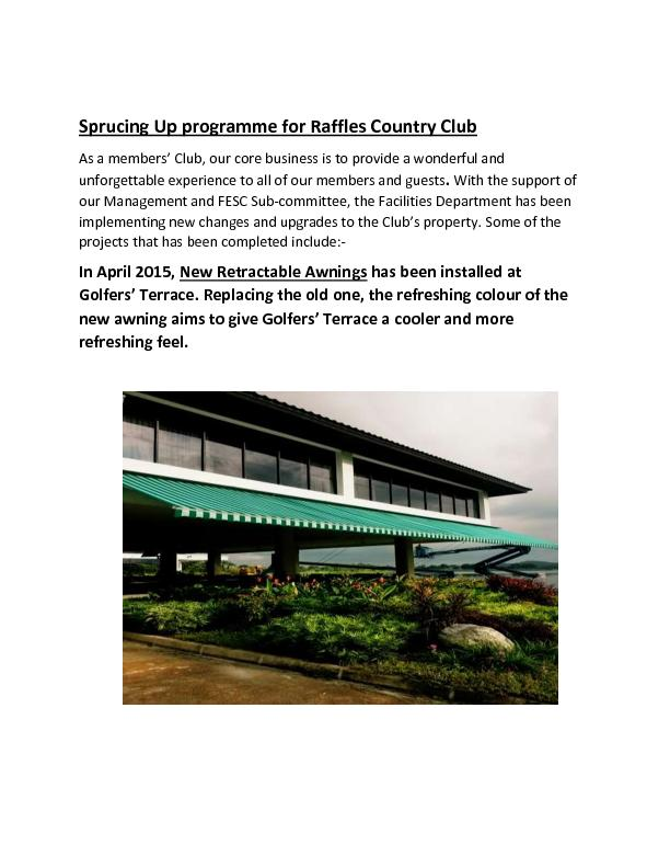 Sprucing Up programme for Raffles Country Club