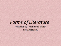 Forms of Literature PowerPoint PPT Presentation