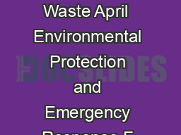 United States Ofce of Solid Waste April  Environmental Protection and Emergency Response F Agency  httpwww