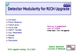 Detector Modularity for RICH Upgrade