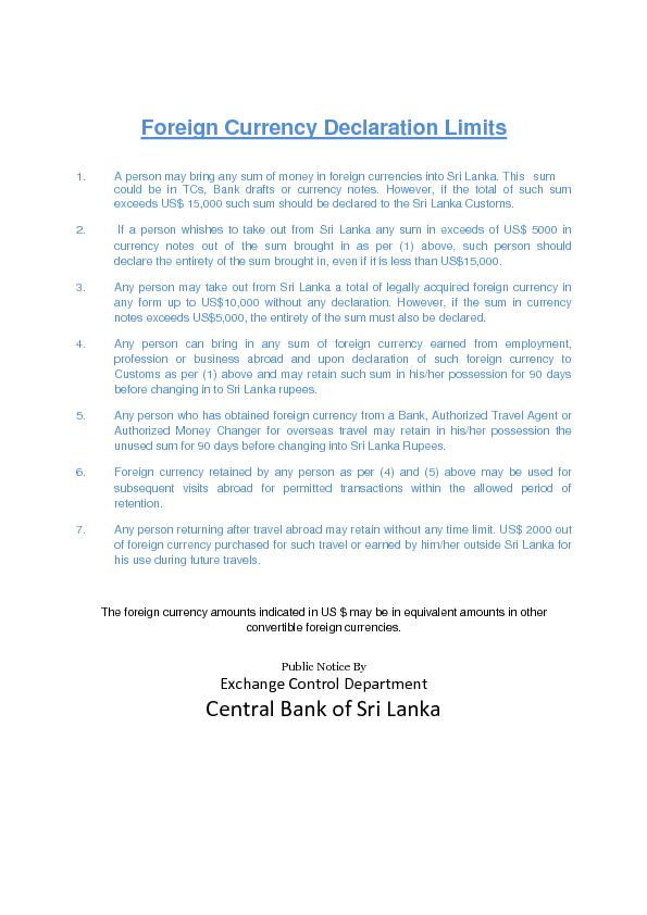 Foreign Currency Declaration Limits