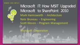 Microsoft IT: How MSIT Upgraded Microsoft to SharePoint 201