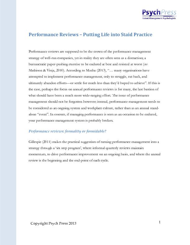 Performance Reviews – Putting strategy of well-run companies, yet