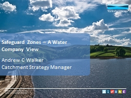 Safeguard Zones – A Water Company View