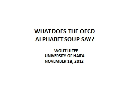 WHAT DOES THE OECD ALPHABET SOUP SAY?