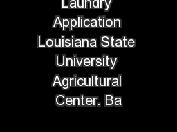 Laundry Application Louisiana State University Agricultural Center. Ba