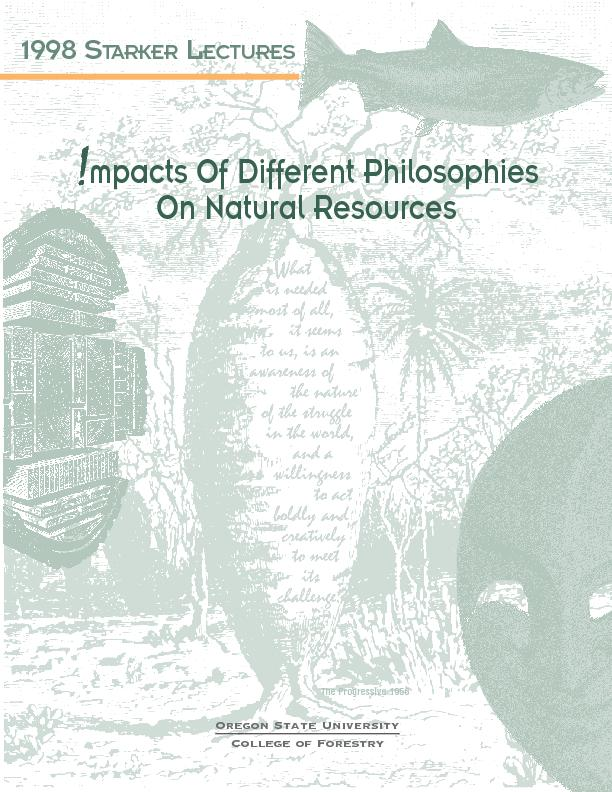 mpacts Of Different Philosophies On Natural Resources