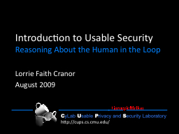 Introduction to Usable Security