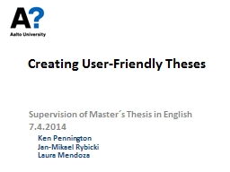 Improving the Master's Thesis Supervision Process at Aalt PowerPoint PPT Presentation
