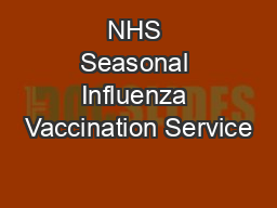 NHS Seasonal Influenza Vaccination Service
