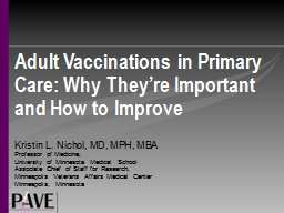 Adult Vaccinations in Primary Care: Why They're Important