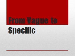 From Vague to Specific PowerPoint PPT Presentation