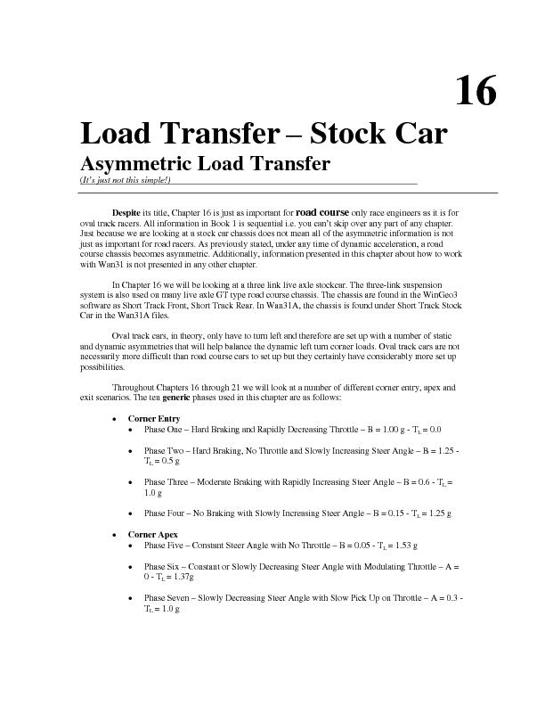 Load Transfer – Stock Car