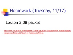 Homework (Tuesday, 11/17)
