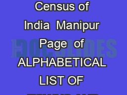 List of towns Census of India  Manipur  Page  of  ALPHABETICAL LIST OF TOWNS AND